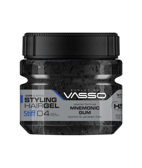 Professional Hair Gel for a Healthy Look and Wet Effect VASSO MNEMONIC GUM STYLING HAIR GEL STIFF, 500ml