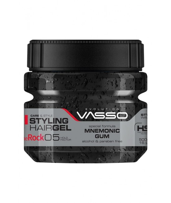 Professional Wet Moisture Hair Gel Up to 24h VASSO MNEMONIC GUM STYLING HAIR GEL THE ROCK, 500ml