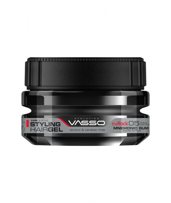 Professional Wet Moisture Hair Gel Up to 24h VASSO MNEMONIC GUM STYLING HAIR GEL THE ROCK, 250ml