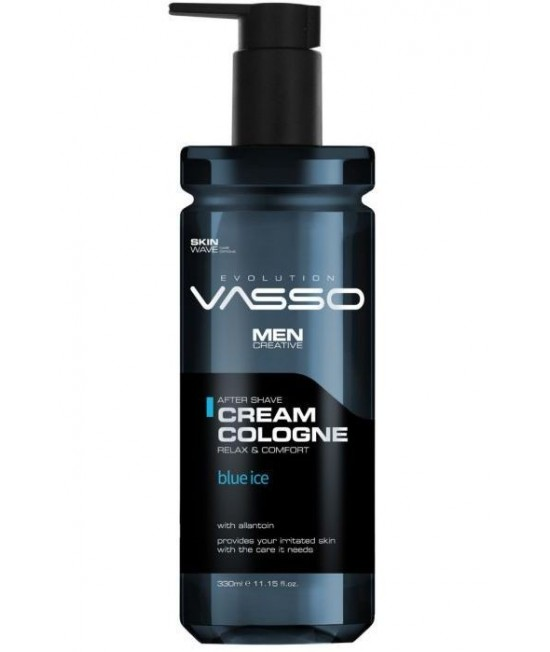 Professional aftershave balm with moisturizing effect and allantoin against irritation Vasso Aftershave Cream Cologne Blue Ice, 370ml.