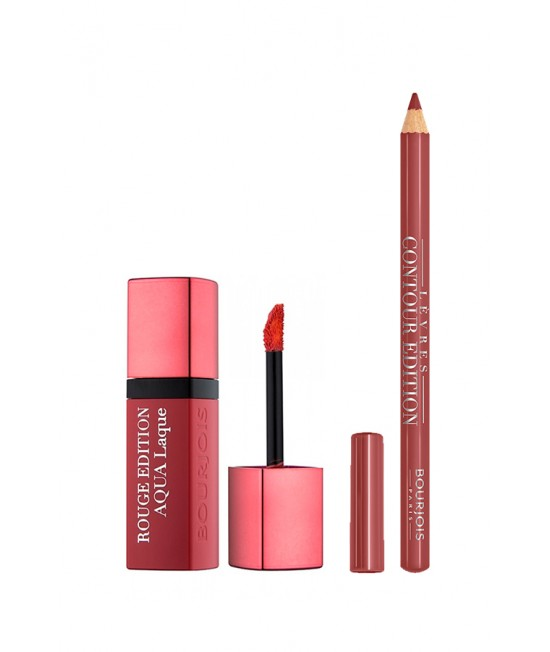Set of liquid lipstick and lip pencil Bourjois Rouge Aqua Laque Liquid Lipstick + Bourjois Contour Edition Lipliner 01 Nude Wave