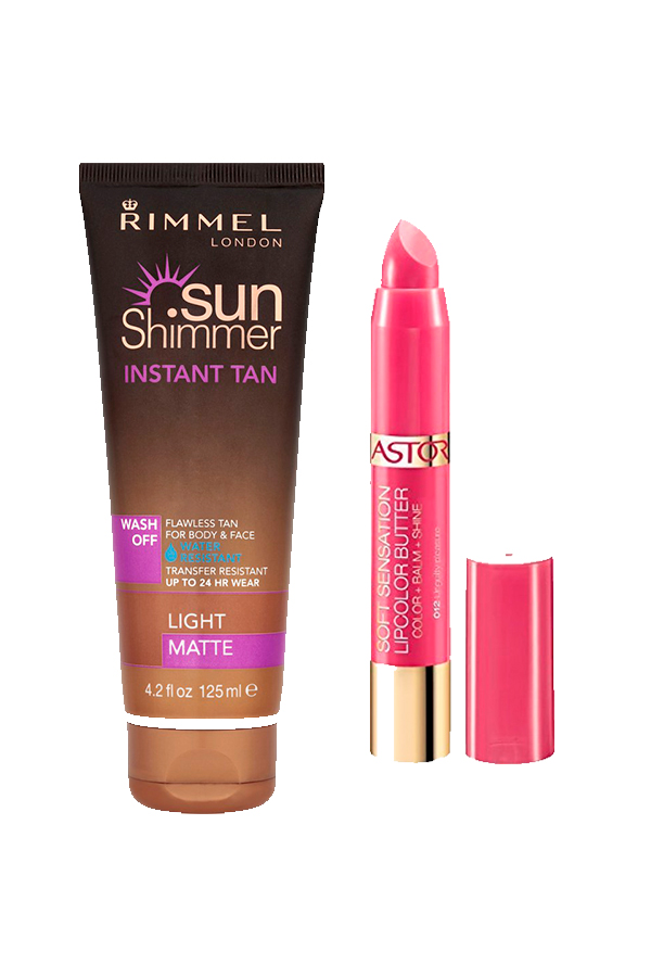 Body & Face Autocorreating Kit + Lip Balm Rimmel Sun Shimmer Instant Tan Wash 125ml + Astor Soft Sensation Lipcolor Butter