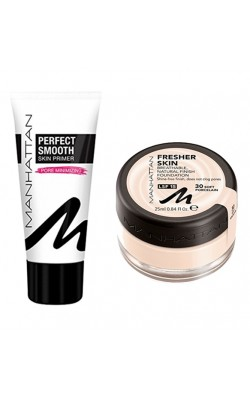 Set of foundation and foundation base Manhattan Fresher Skin 30 & Manhattan Perfect Smooth Skin Primer