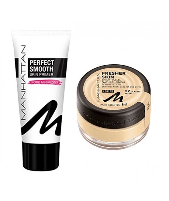 Set of foundation and foundation base Manhattan Fresher Skin 32 & Manhattan Perfect Smooth Skin Primer