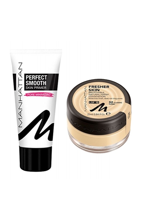 Комплект фон дьо тен и основа Manhattan Fresher Skin 32 & Manhattan Perfect Smooth Skin Primer