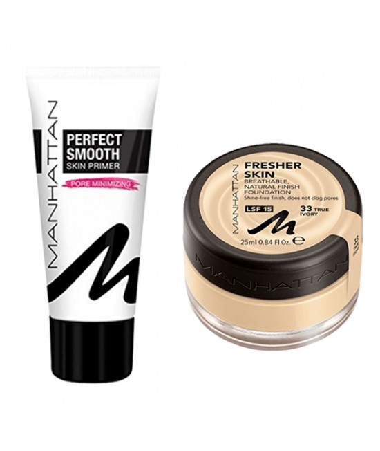 Set of foundation and foundation base Manhattan Fresher Skin 33 & Manhattan Perfect Smooth Skin Primer