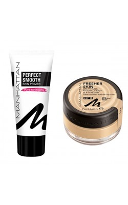Set of foundation and foundation base Manhattan Fresher Skin 34 & Manhattan Perfect Smooth Skin Primer