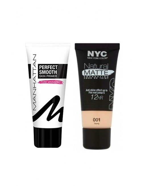 Set of foundation and foundation base NYC Natural Matte Foundation 30ml + Manhattan Perfect Smooth Skin Primer 30ml