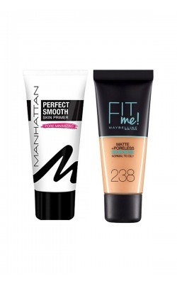 Set of foundation and foundation base Mybelline Fit Me Matte And Poreless Foundation + Manhattan Perfect Smooth Skin Primer