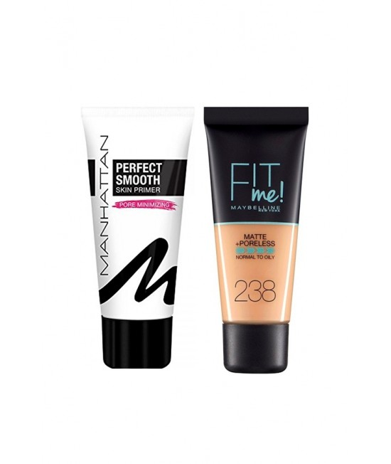 Комплект фон дьо тен и основа Mybelline Fit Me Matte And Poreless Foundation + Manhattan Perfect Smooth Skin Primer