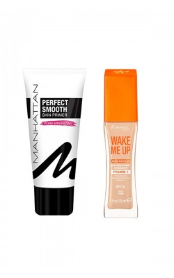 Set of foundation and foundation base Rimmel Wake Me Up Foundation 30ml + Manhattan Perfect Smooth Skin Primer 30ml
