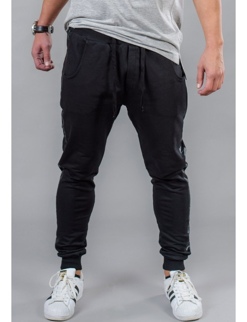 Men's sports trousers with leather trim BM519