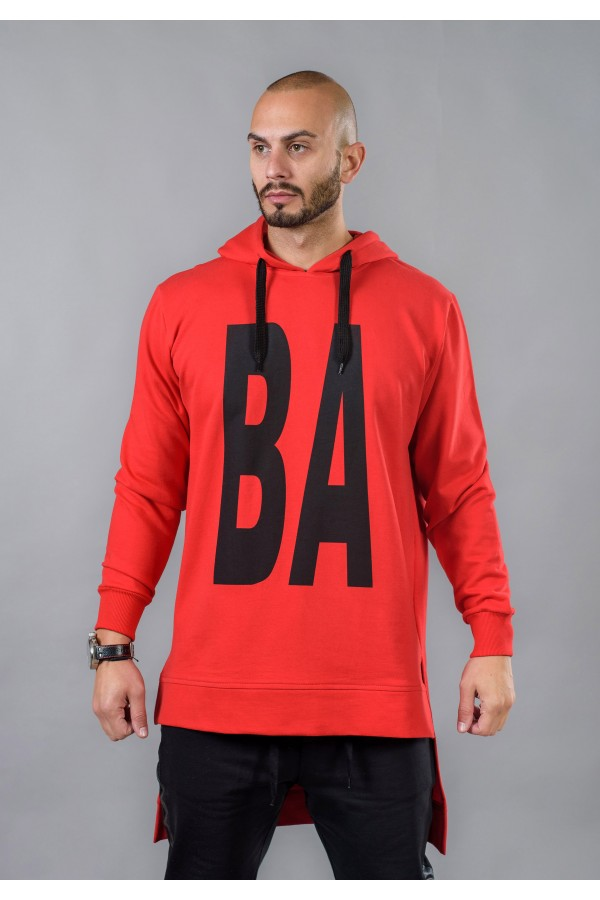 Men's long sweatshirt with hood BM524