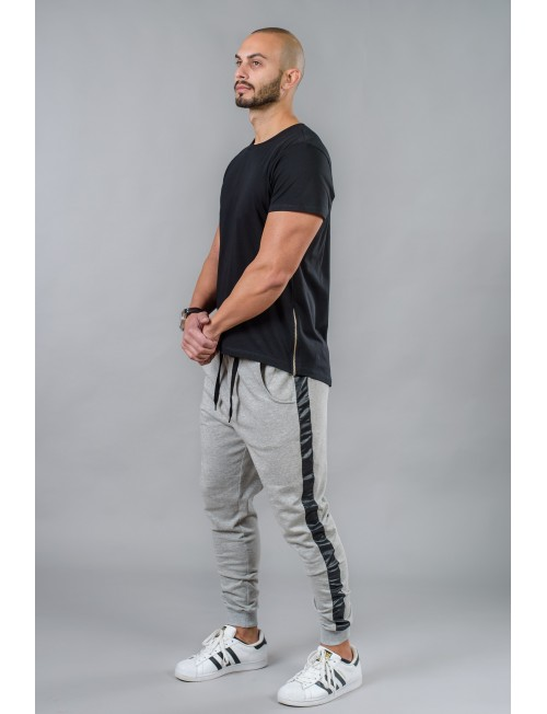 Men's sports trousers with leather trim BM528