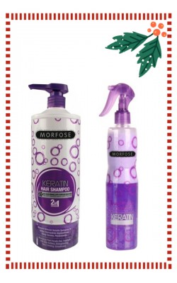 Set of Morfose Professional Keratin Shampoo 1l. & Two Phase Conditioner 400ml.