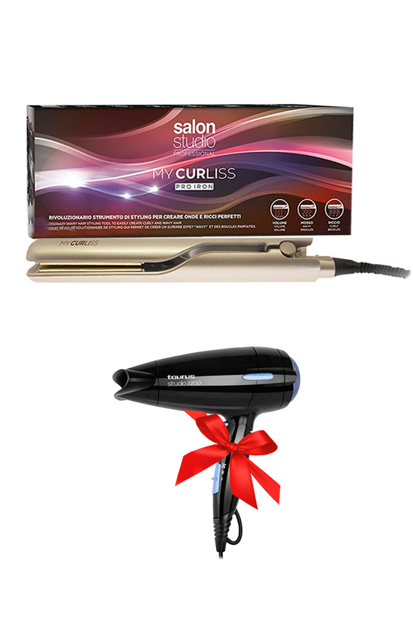 Professional Hair Straightener Milano My Curliss + Gift Hair Dryer Taurus Studio 2200W