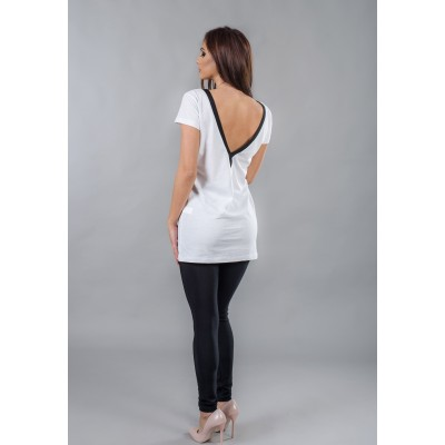 Ladies long t-shirt with a naked back BW123